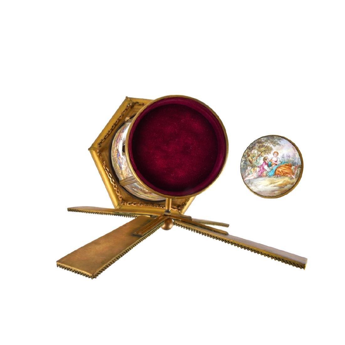 Austrian Bronze and Enamel Windmill Music Box. - 2