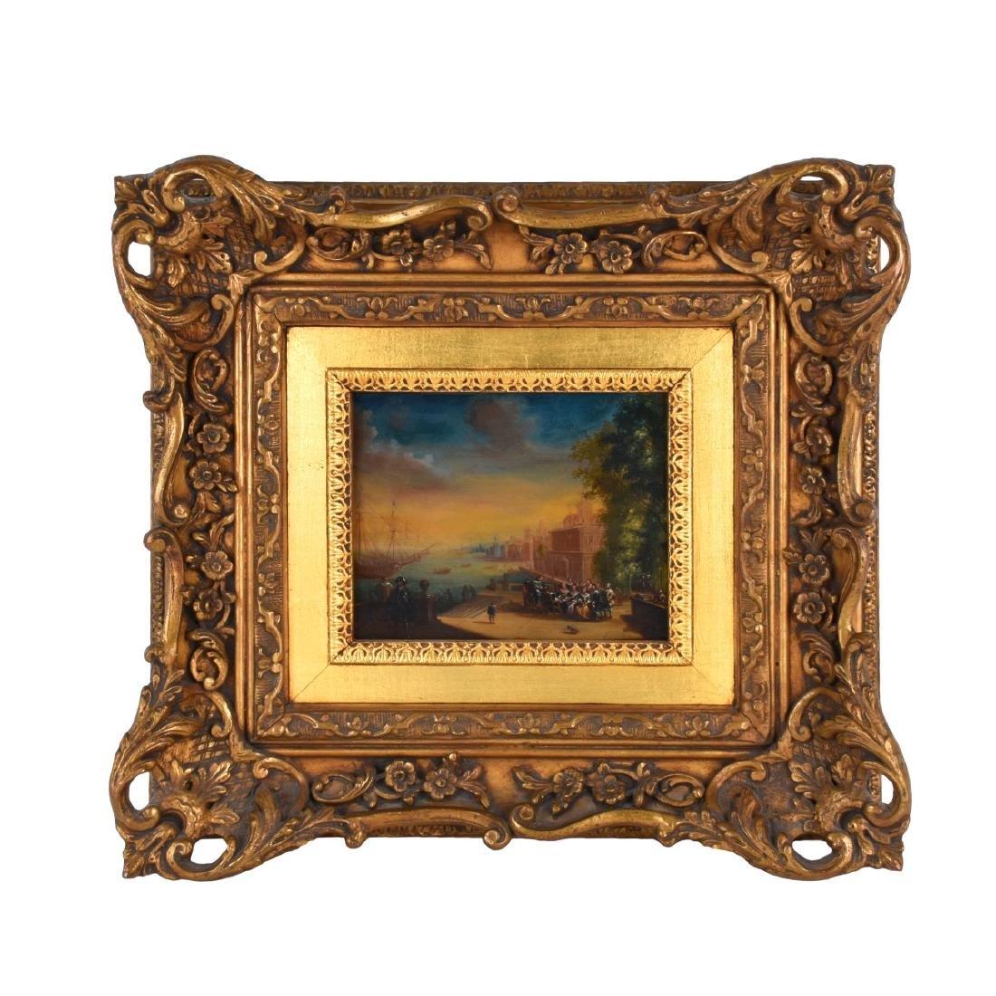 19th Century Oil on Board, Dutch Canal Scene - 2