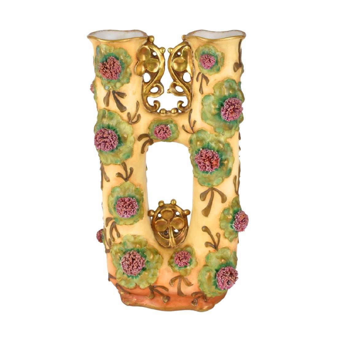 Amphora Art Nouveau Enameled Double Vase