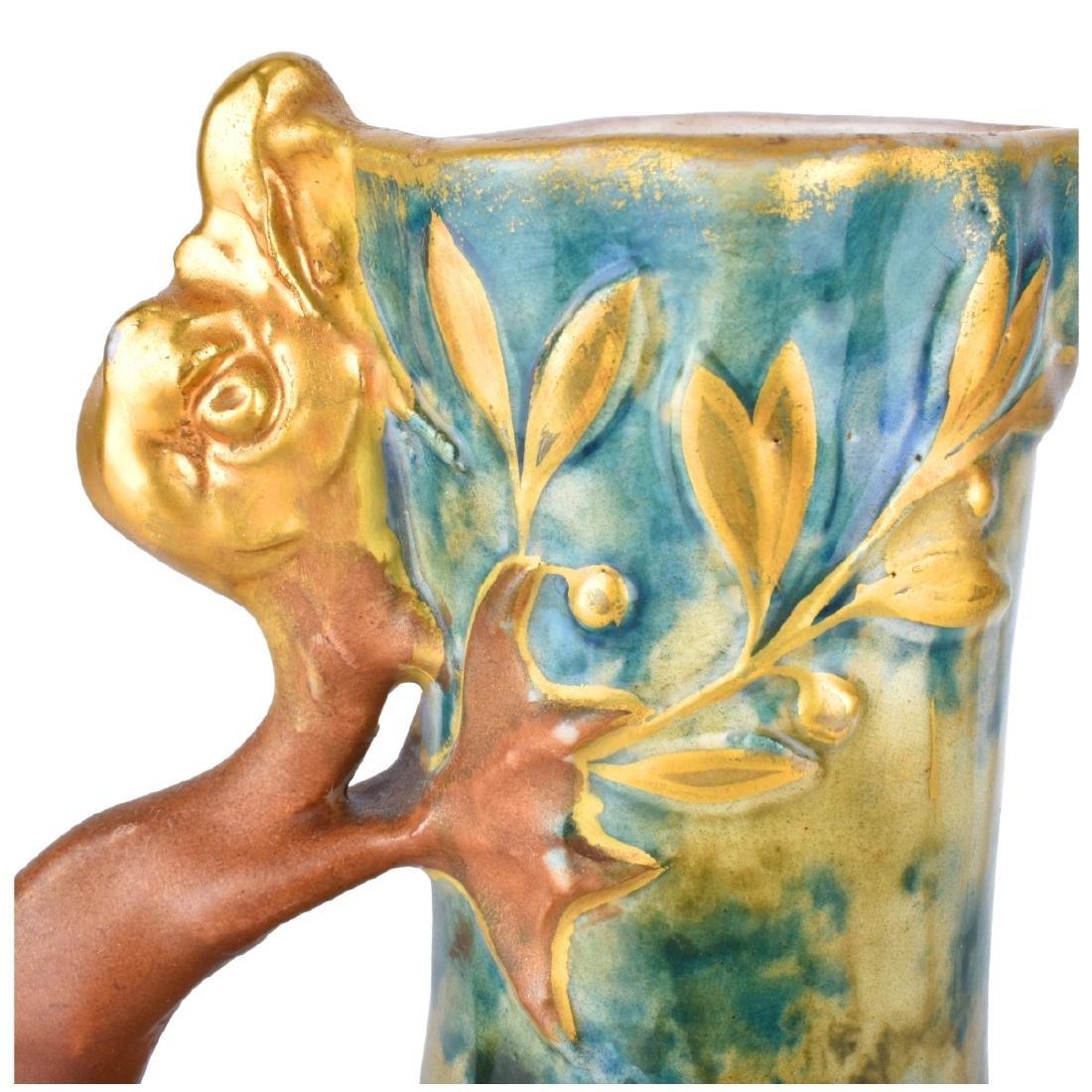 Amphora Glazed Pottery Pitcher Dragon Handle - 4