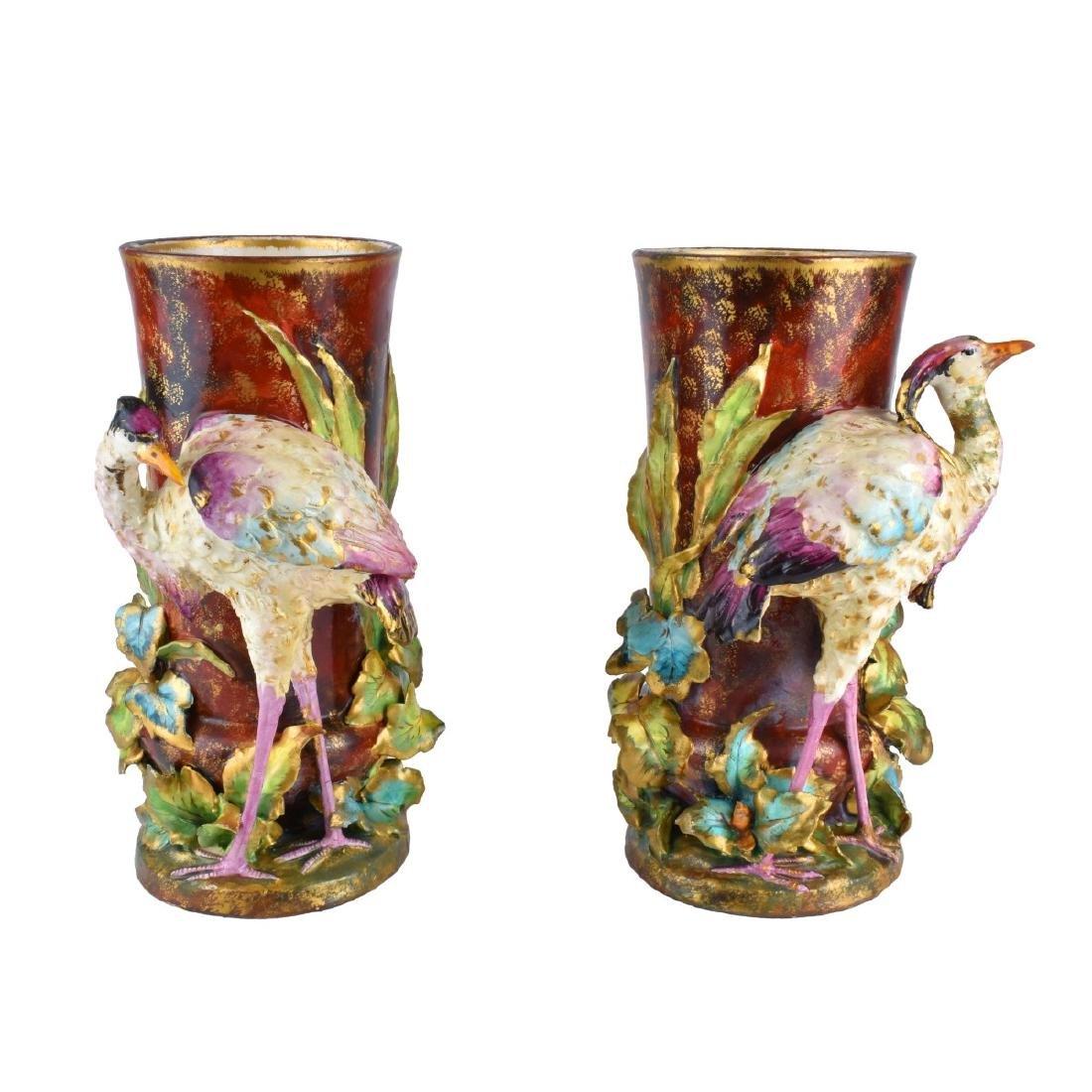 Pair of Carlton Ware Porcelain Bird Figural Vases