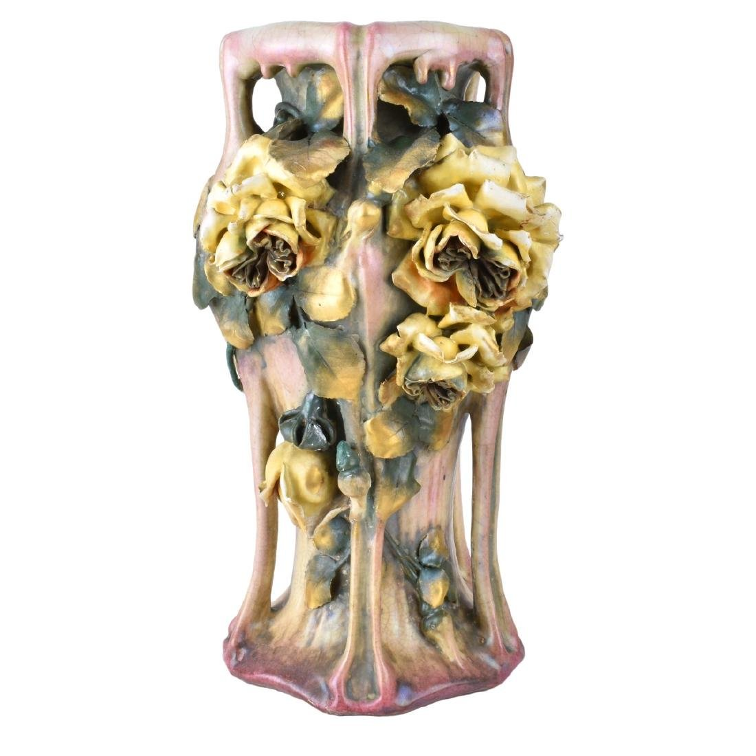 Amphora Edda Pottery Vase with Raised Flowers