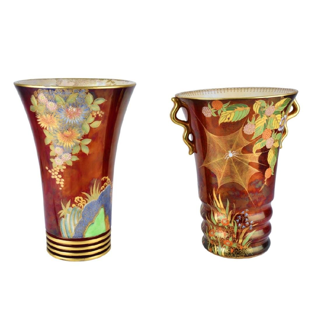 Carlton Ware Rouge Luster Pottery Vases