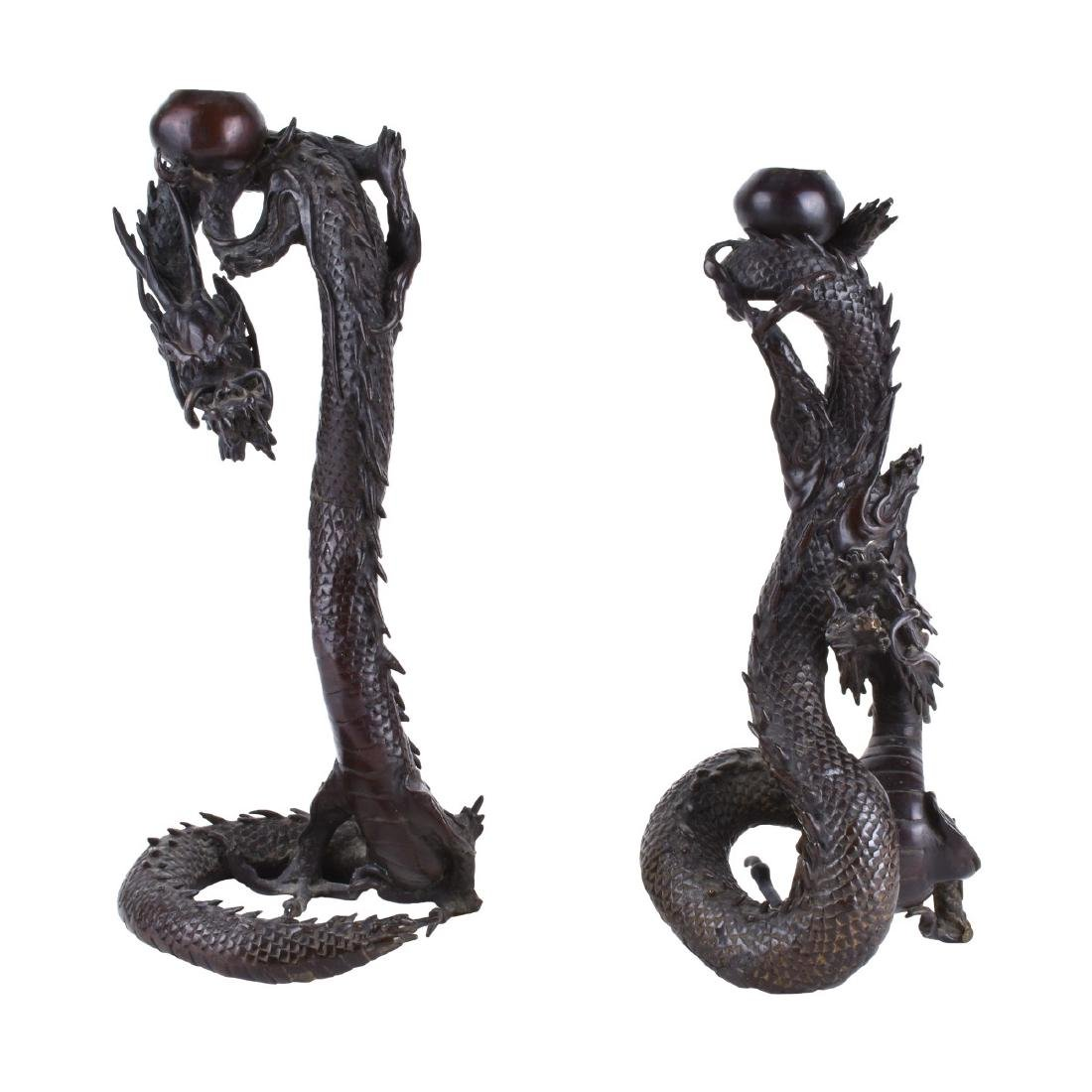 Chinese Bronze Dragon Candlesticks
