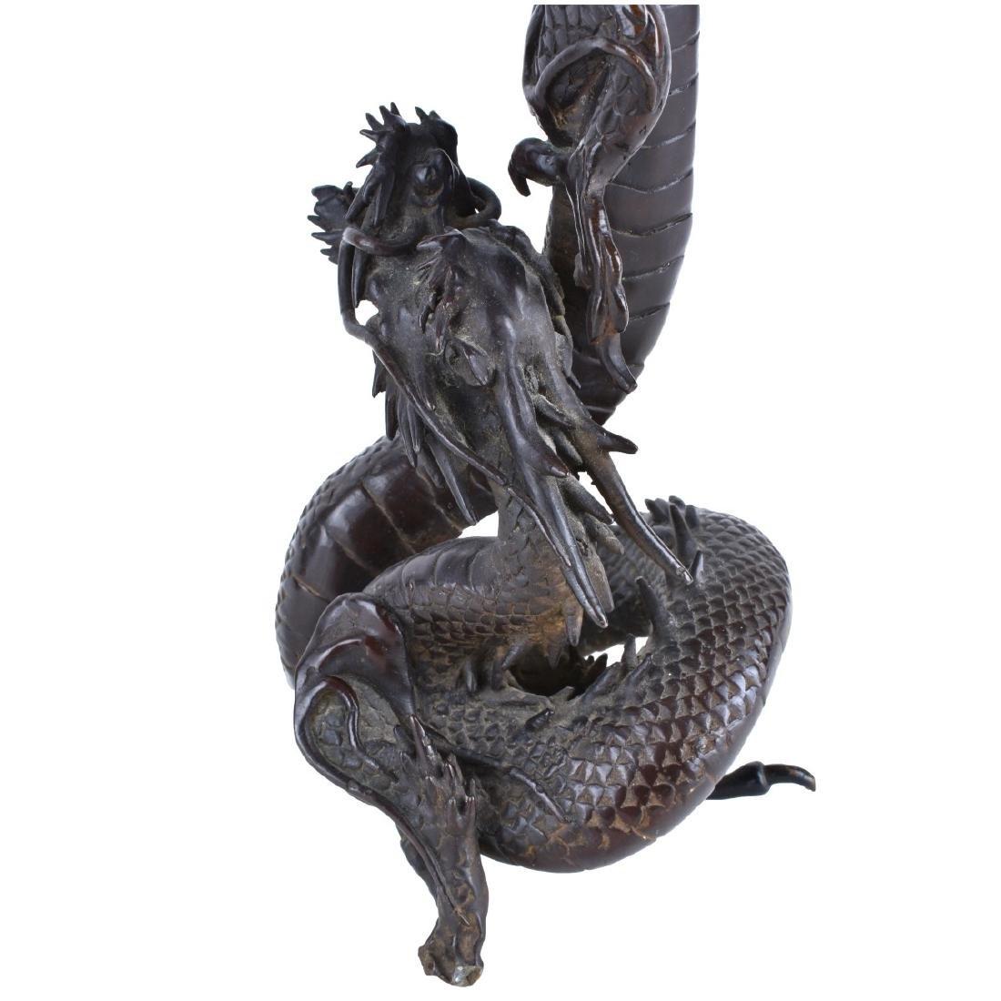 Chinese Bronze Dragon Candlesticks - 2