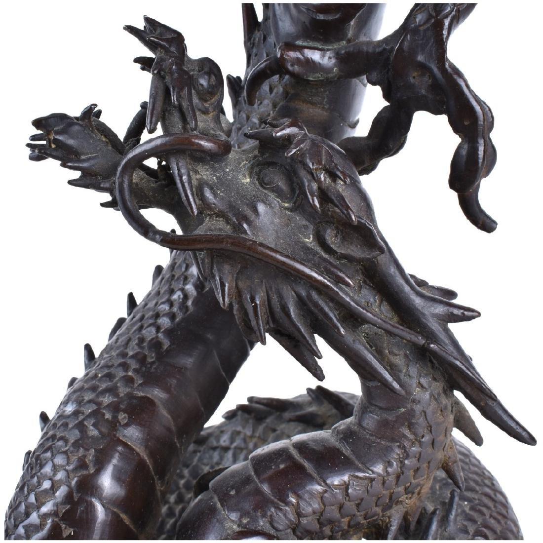 Chinese Bronze Dragon Candlesticks - 3