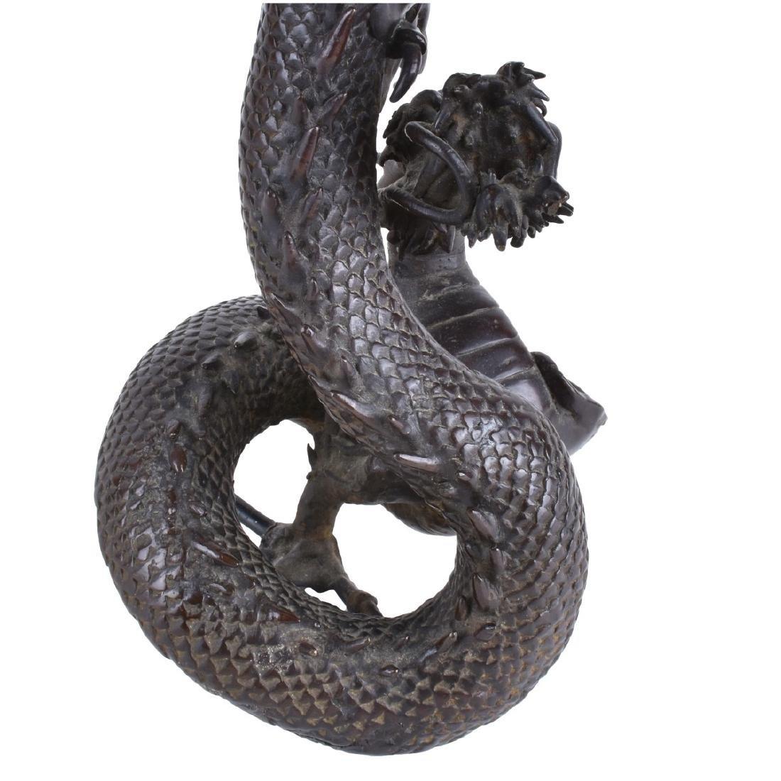 Chinese Bronze Dragon Candlesticks - 4