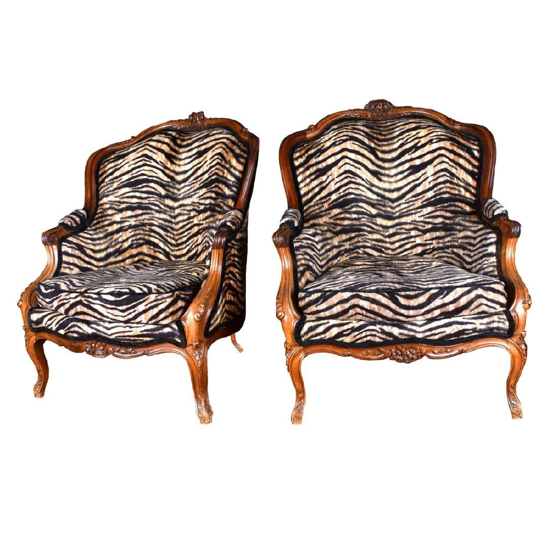 Antique French Carved Walnut Armchairs