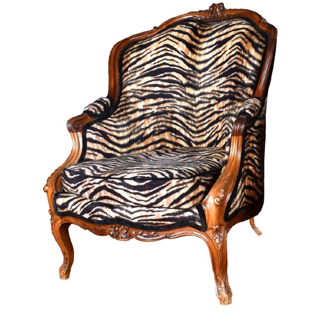 Antique French Carved Walnut Armchairs - 5
