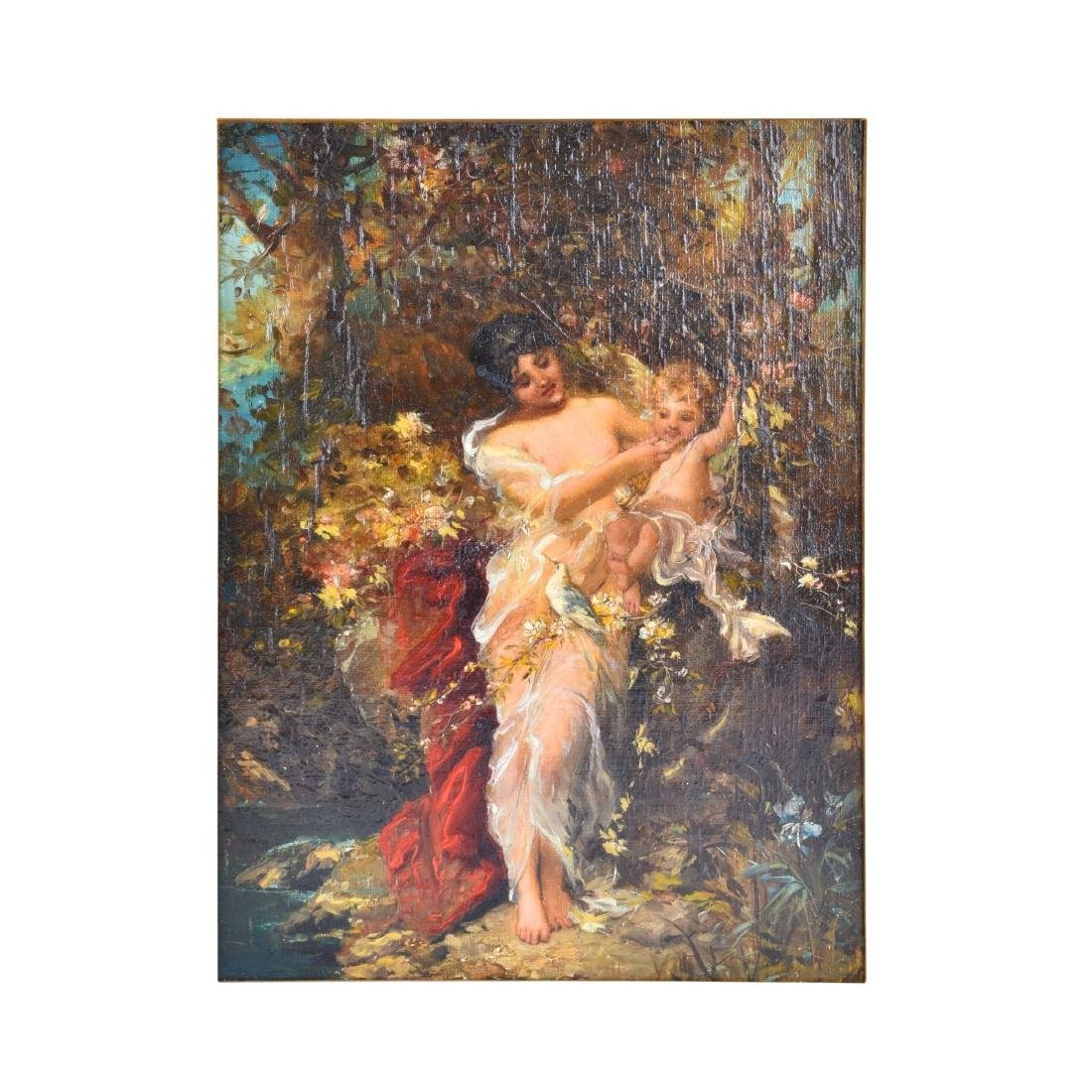 "19/20th Century Oil on Canvas ""Psyche"""