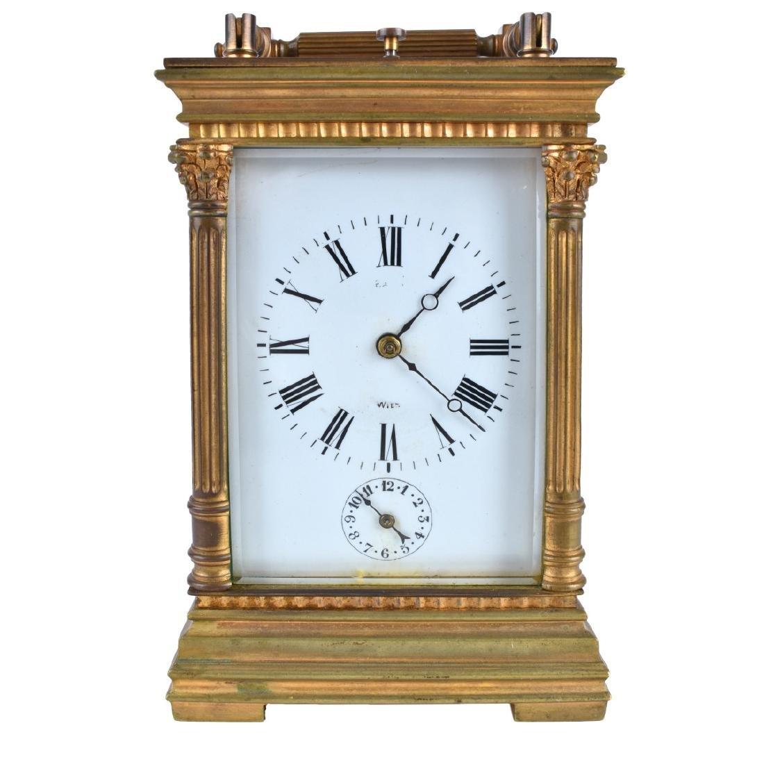 Antique Gilt Brass Carriage Clock - 2