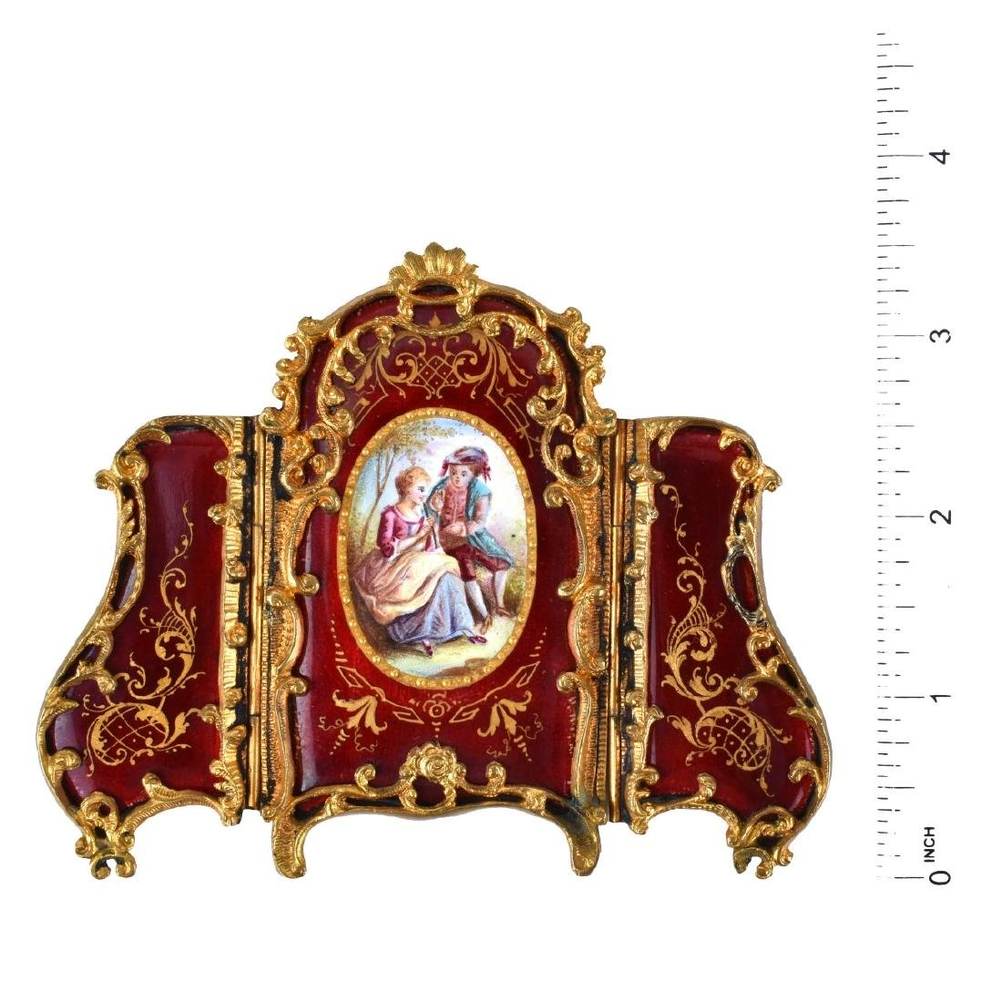 Antique Viennese Bronze & Enamel Miniature Screen