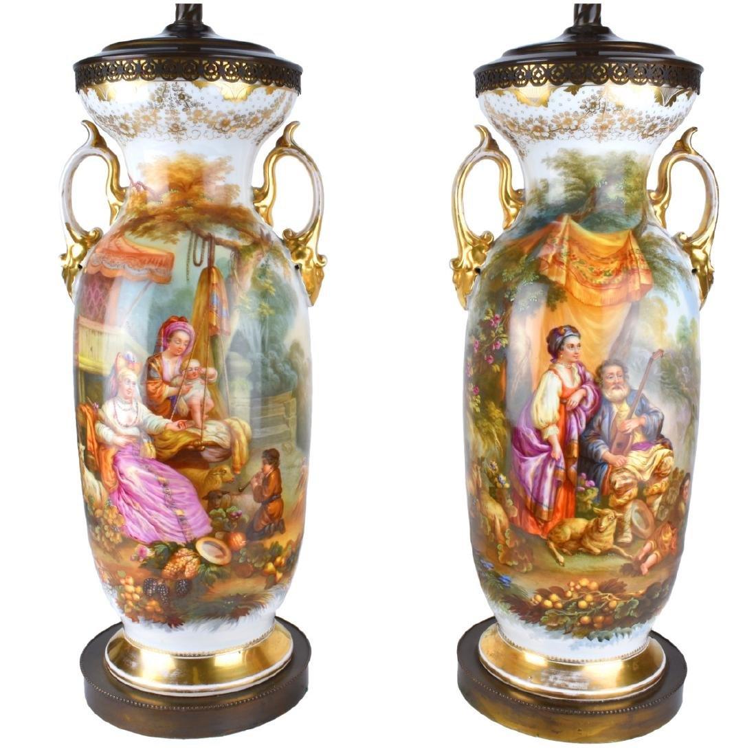 Old Paris Porcelain Vases as Lamps