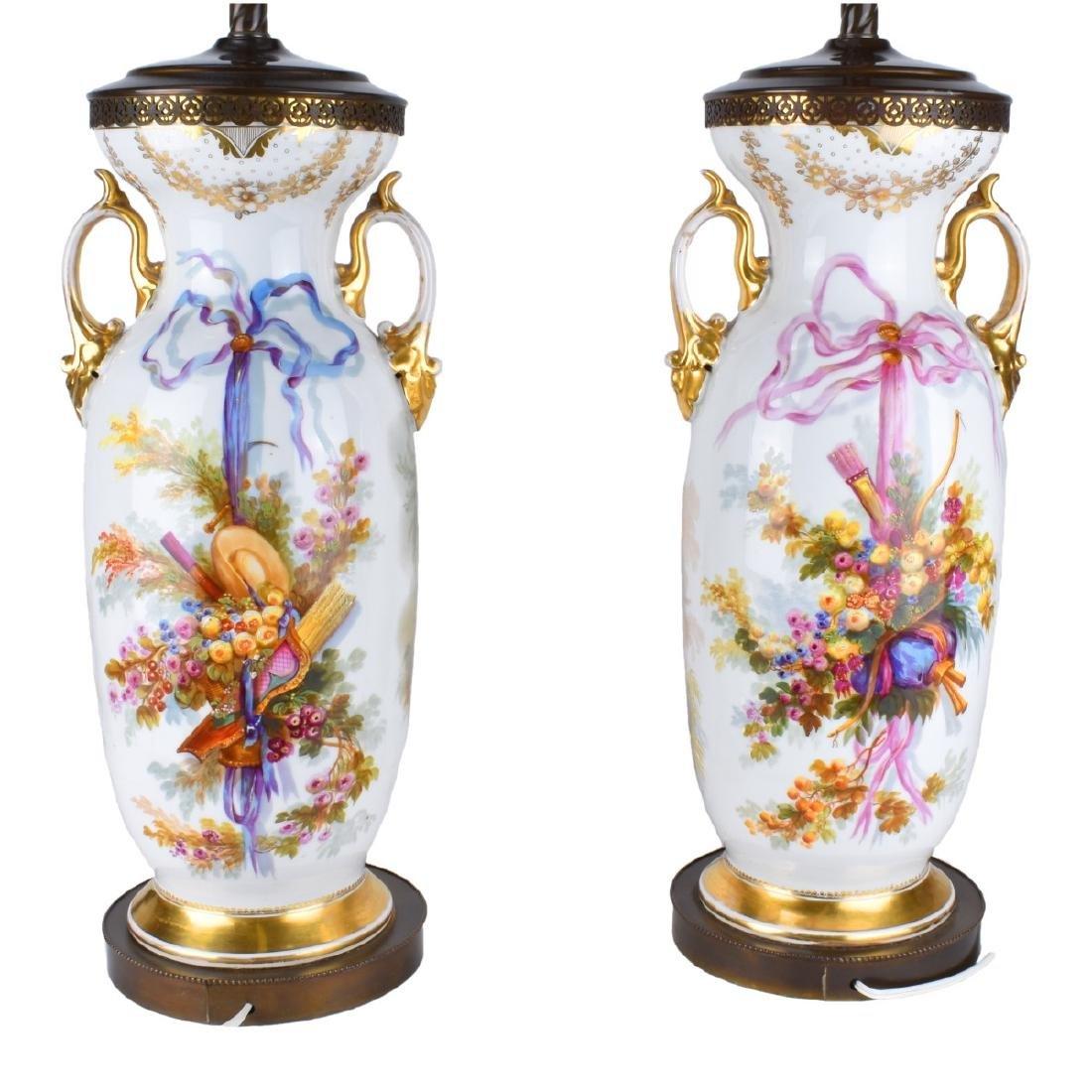 Old Paris Porcelain Vases as Lamps - 2