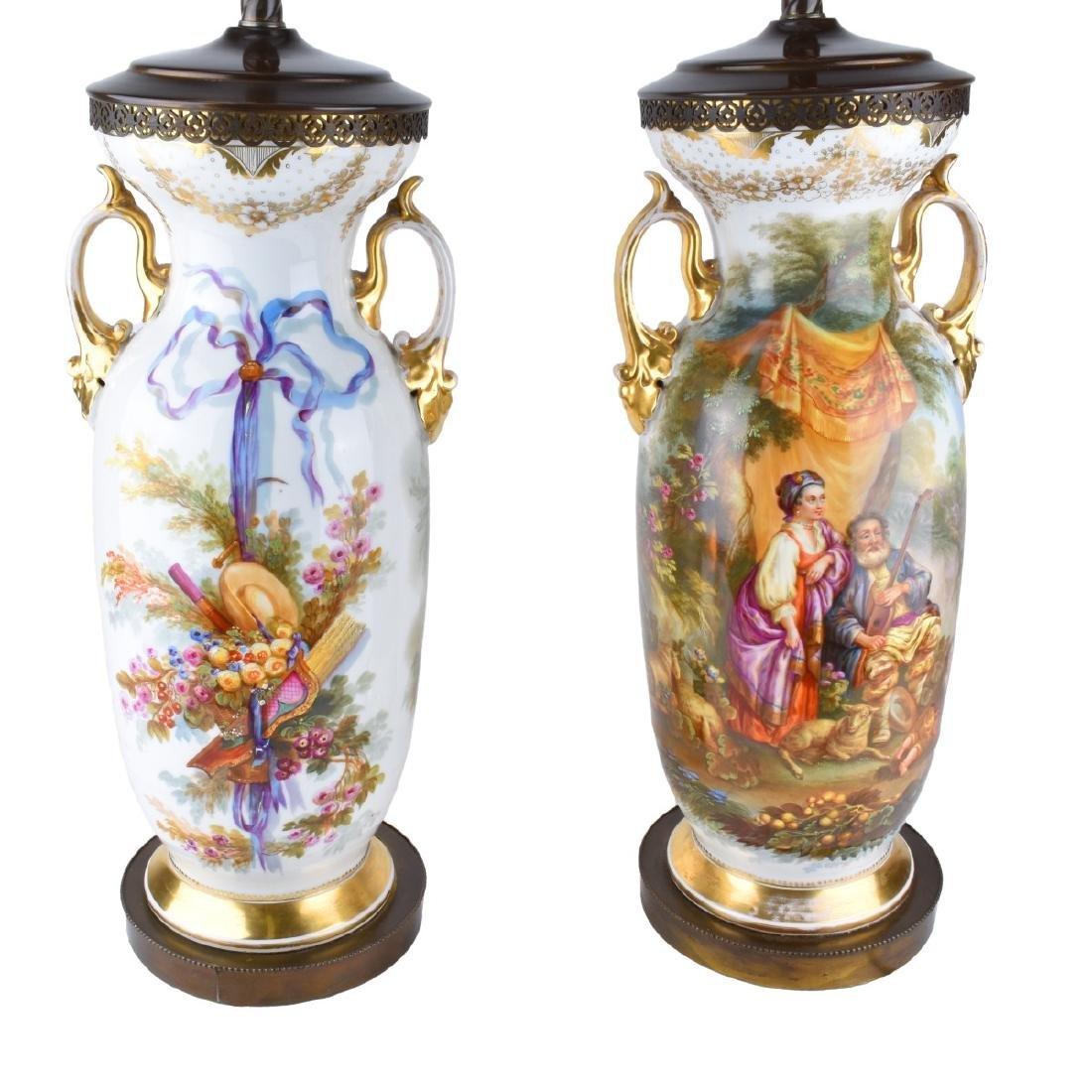 Old Paris Porcelain Vases as Lamps - 3