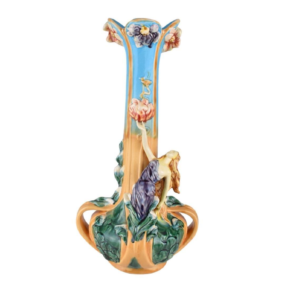 Large Majolica Glazed Porcelain Figural Vase