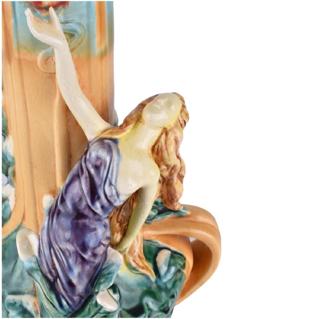 Large Majolica Glazed Porcelain Figural Vase - 2