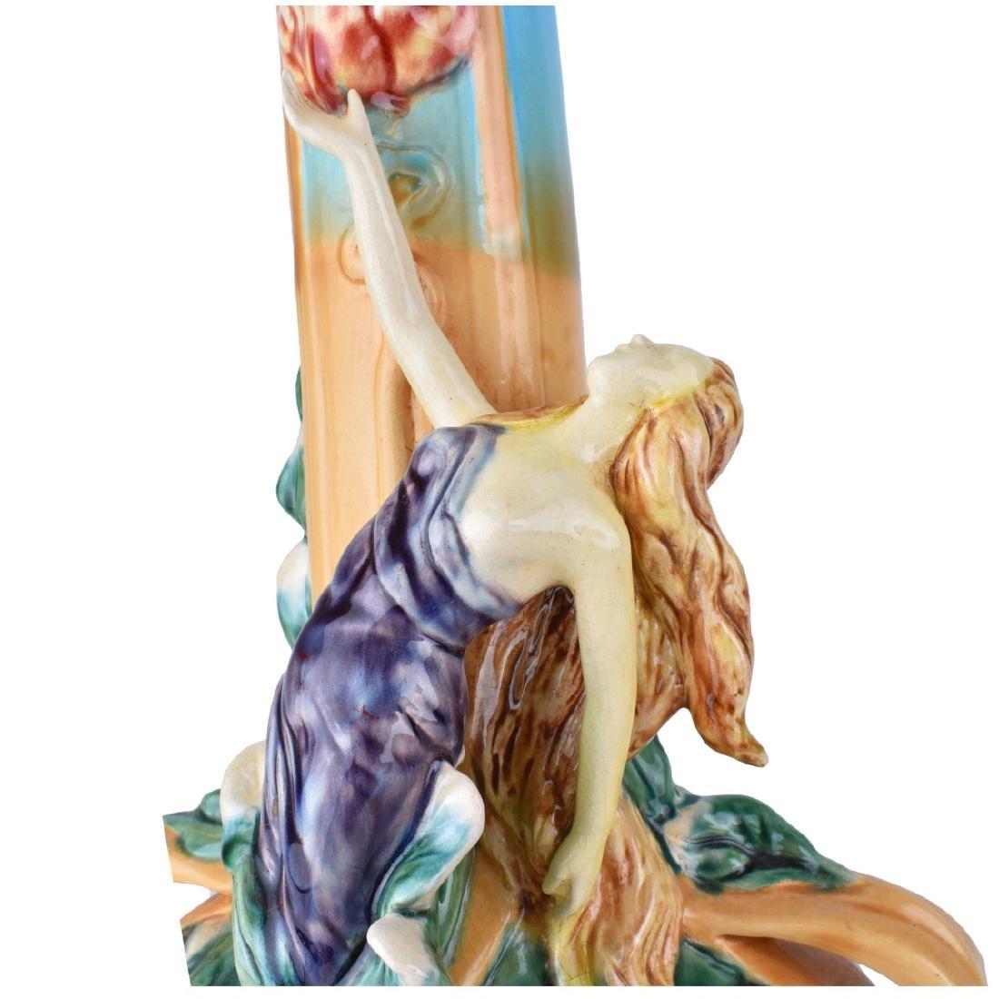 Large Majolica Glazed Porcelain Figural Vase - 4