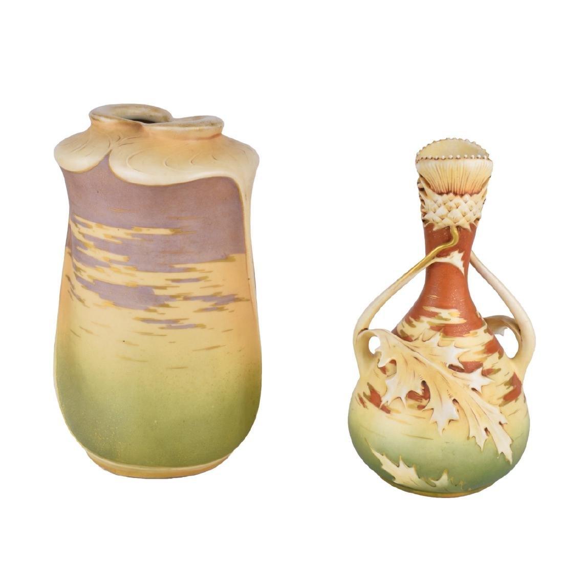 Two Turn Teplitz Amphora Pottery Vases