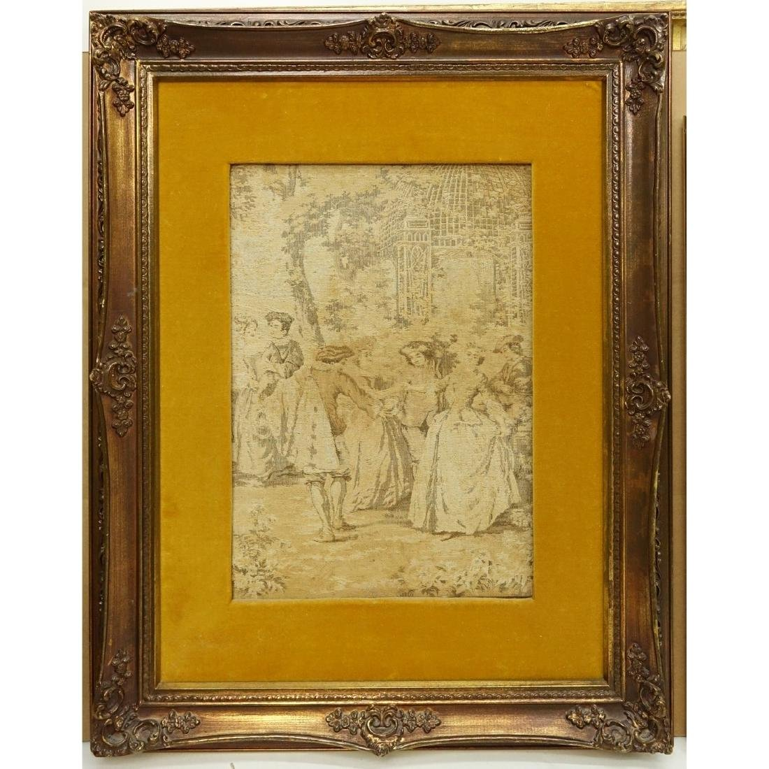 Framed Antique French Victorian Tapestry - 2