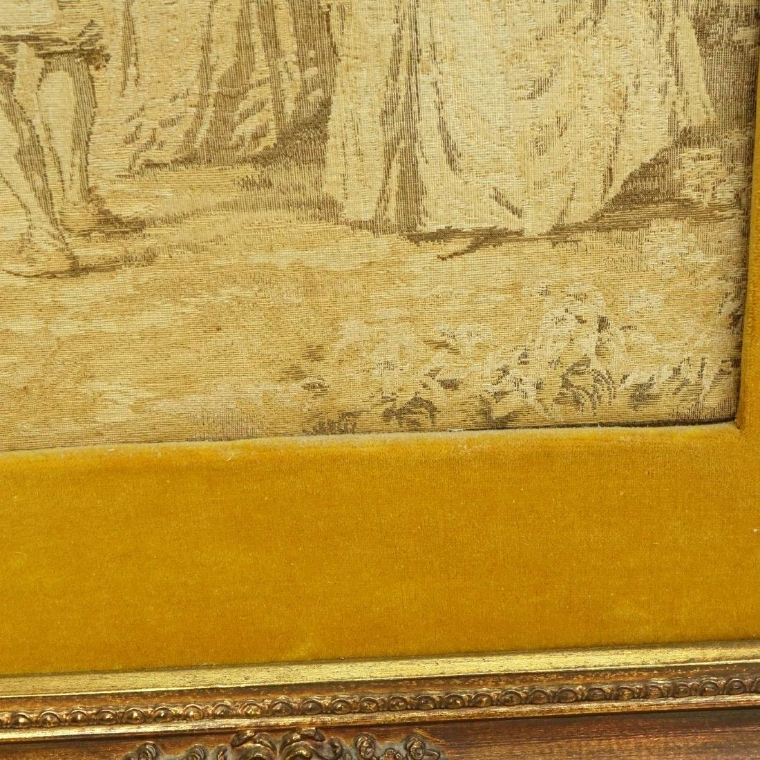 Framed Antique French Victorian Tapestry - 4
