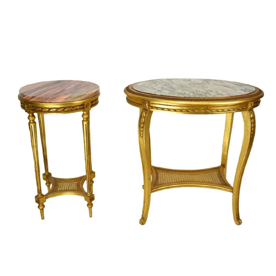 Italian Louis XVI Style Giltwood Marble Top Tables