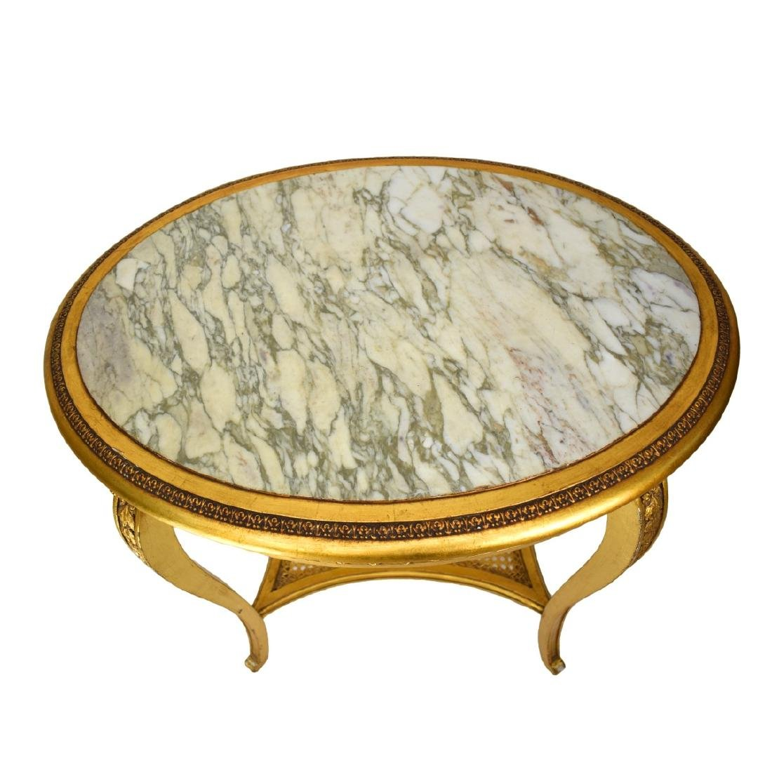 Italian Louis XVI Style Giltwood Marble Top Tables - 2