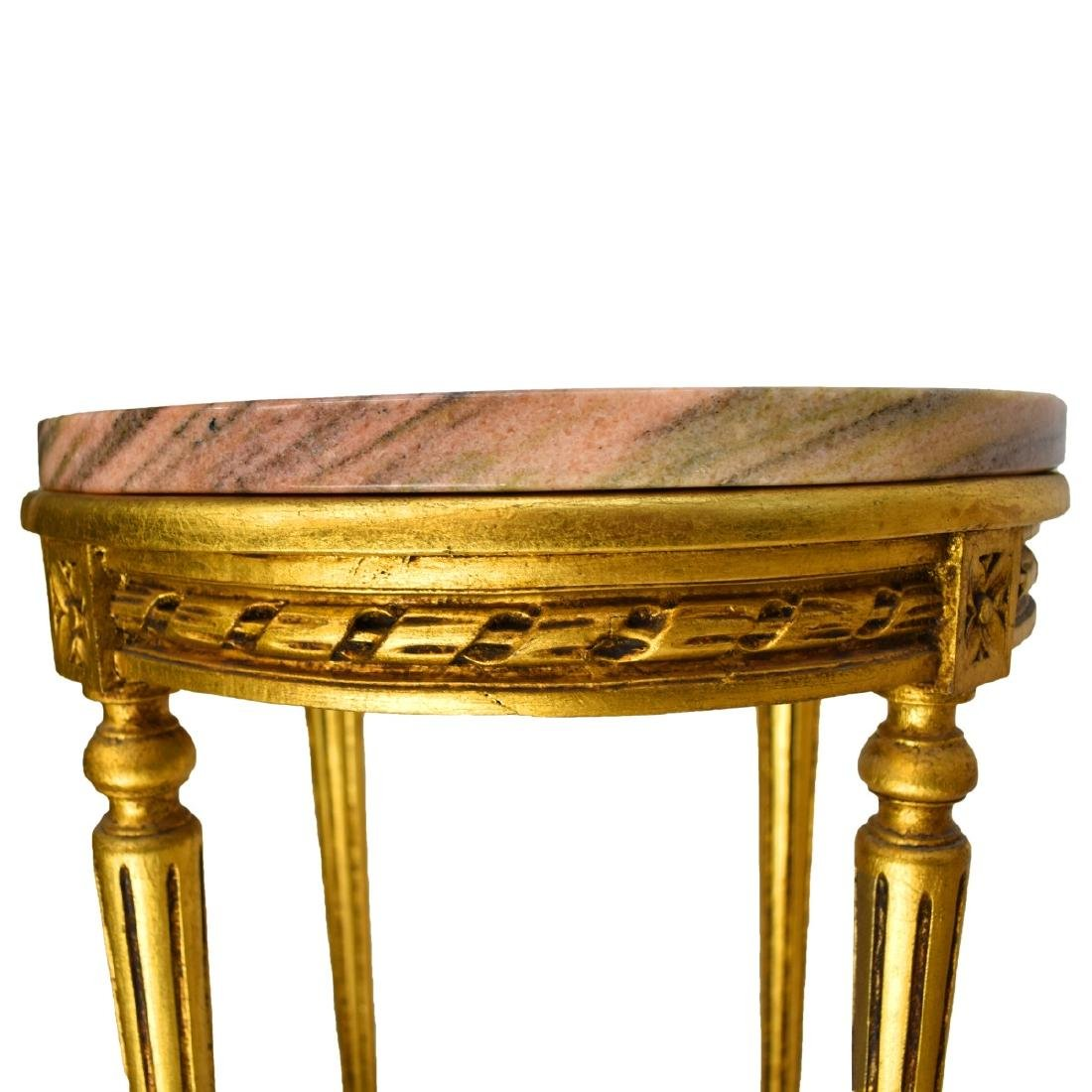 Italian Louis XVI Style Giltwood Marble Top Tables - 3