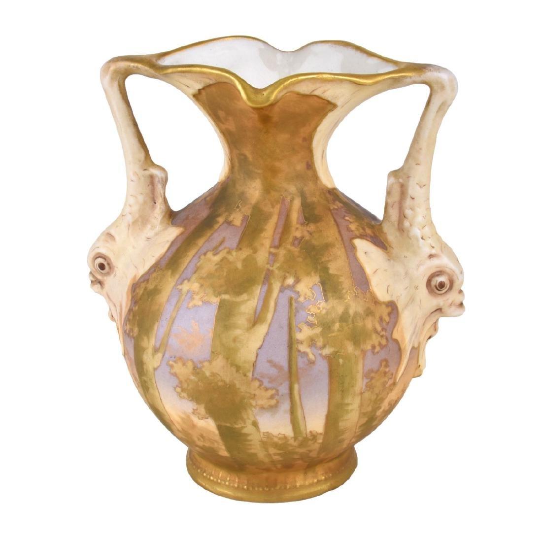 Turn Teplitz Amphora Dolphin Vase