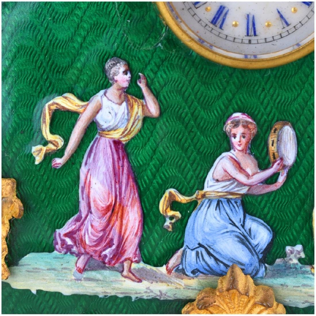 Two Antique Bronze and Enameled Miniature Clocks - 3