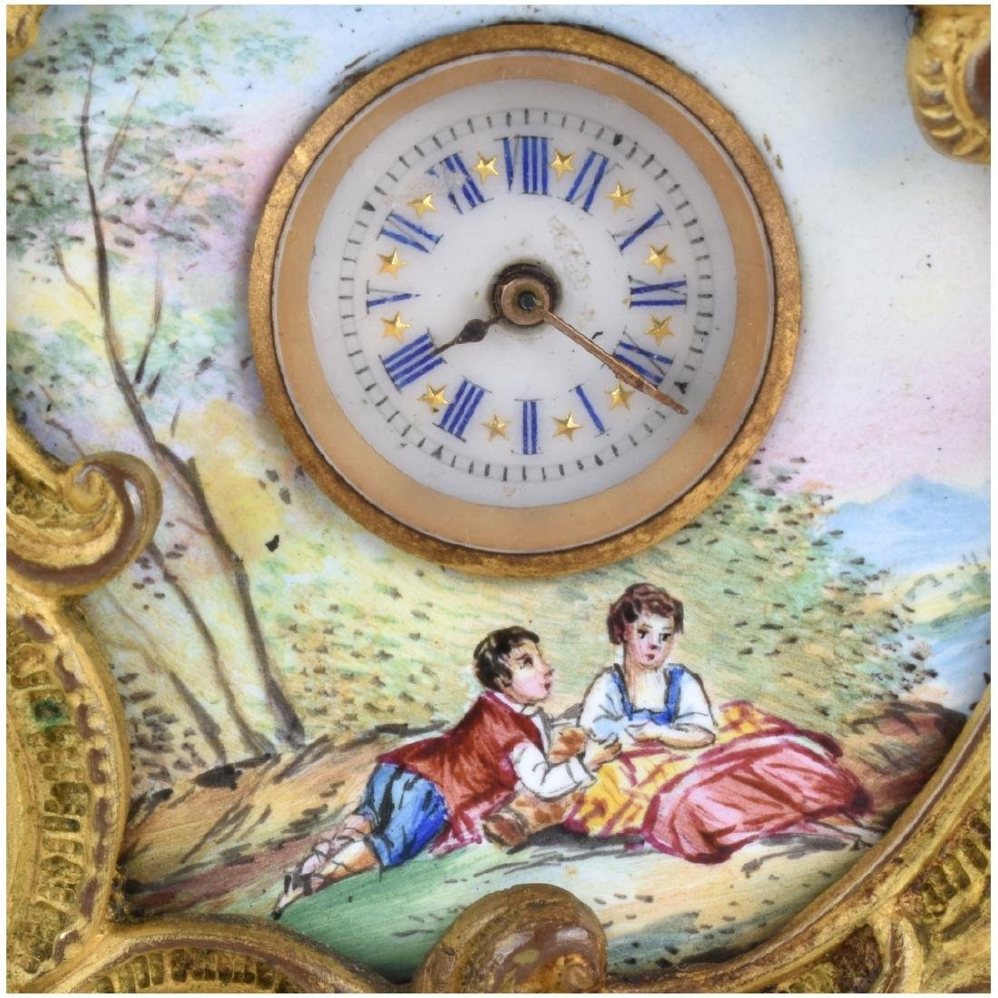 Two Antique Bronze and Enameled Miniature Clocks - 4