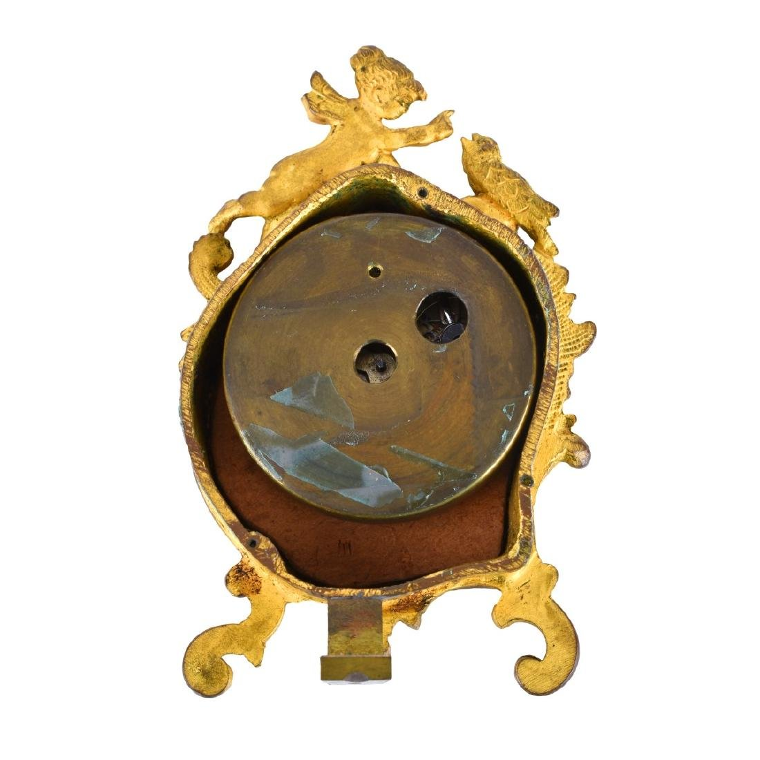 Two Antique Bronze and Enameled Miniature Clocks - 6