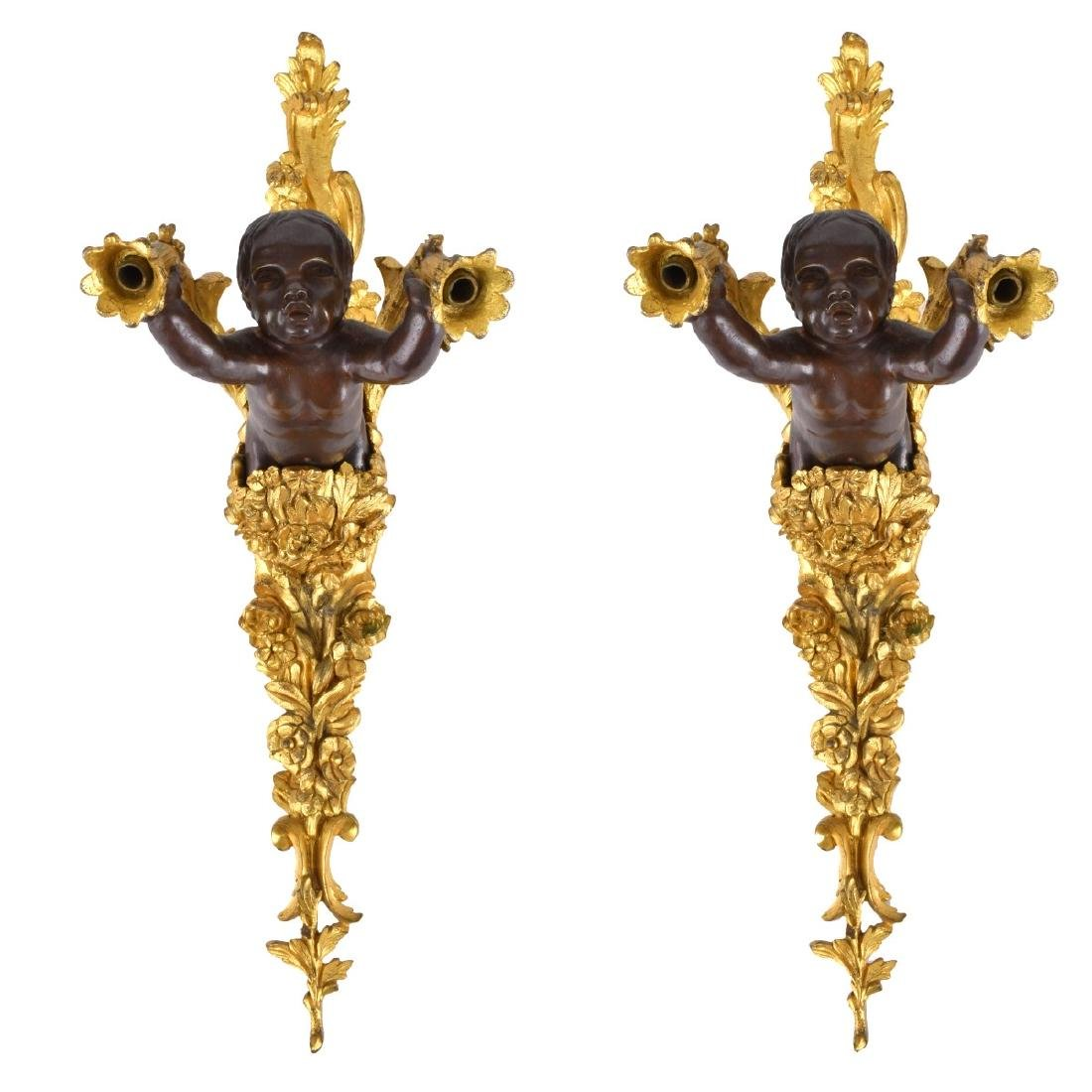 Empire Style Bronze Two Arm Wall Sconces