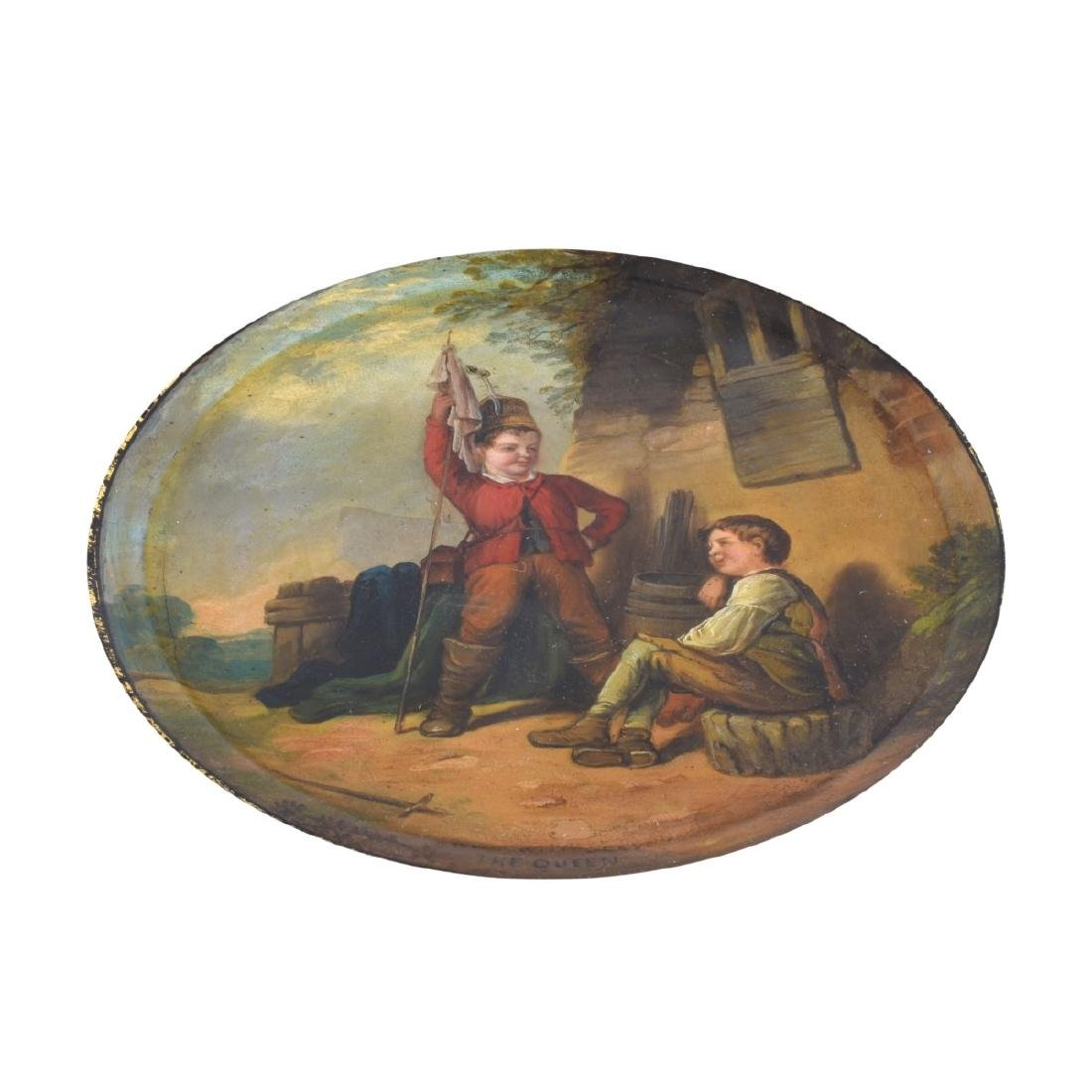 Antique English Black Lacquered Plate