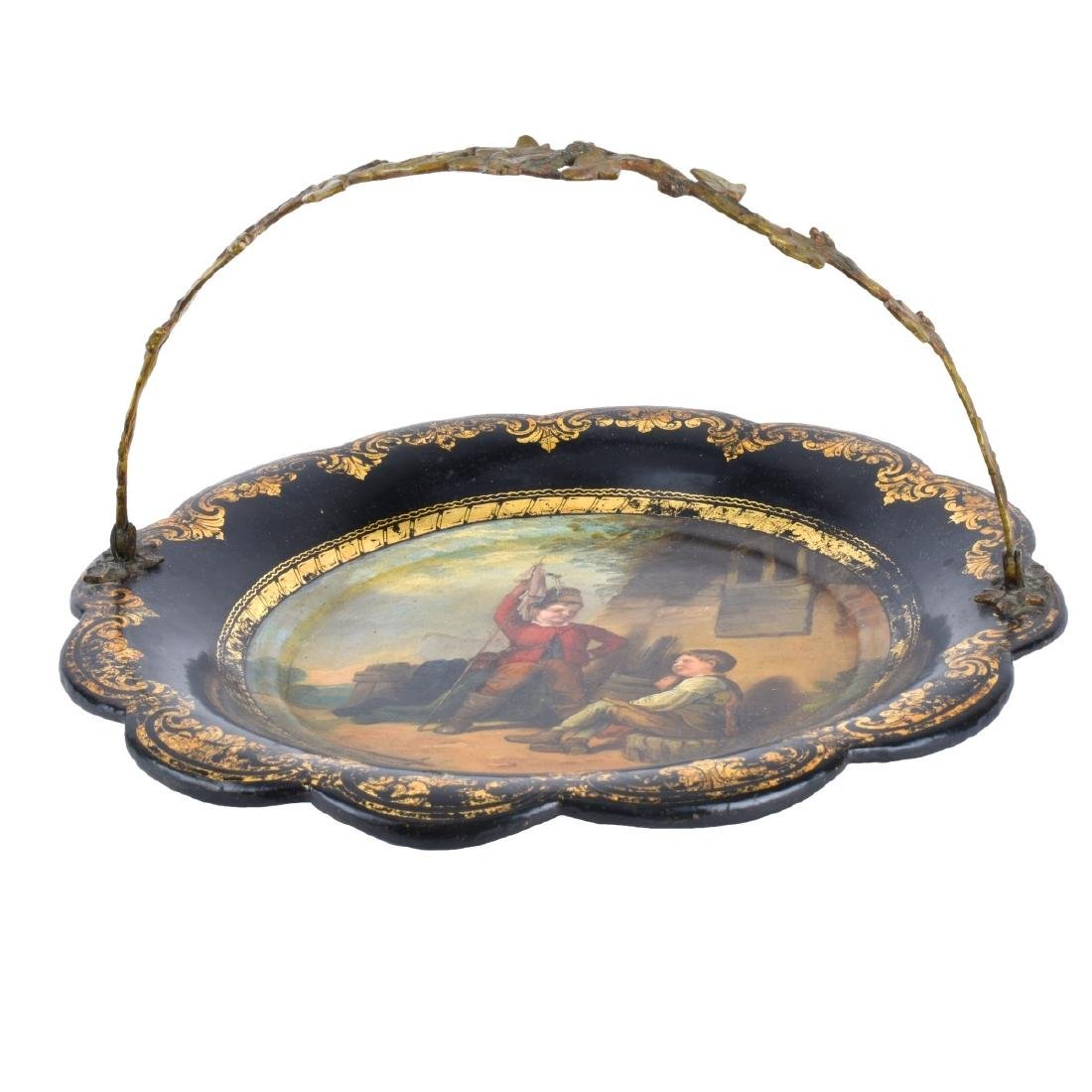 Antique English Black Lacquered Plate - 2