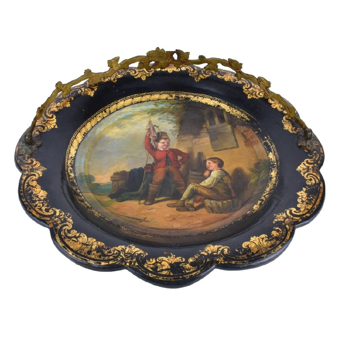 Antique English Black Lacquered Plate - 4