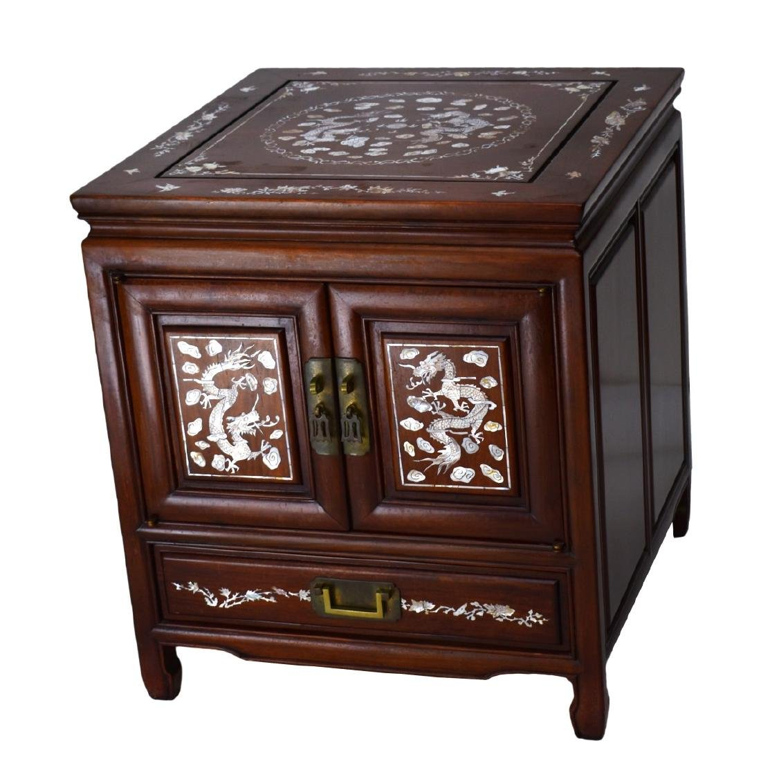 Chinese Rosewood Mother of Pearl Inlaid Side Table