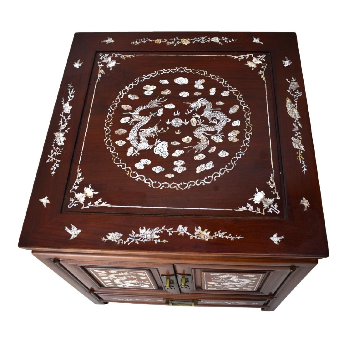Chinese Rosewood Mother of Pearl Inlaid Side Table - 2