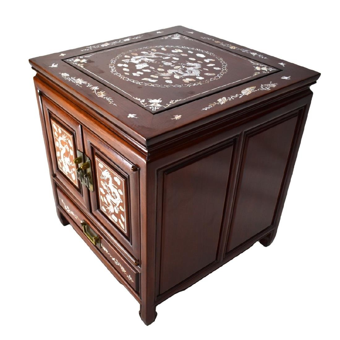 Chinese Rosewood Mother of Pearl Inlaid Side Table - 3
