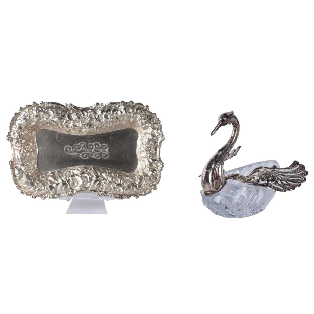Two (2) Piece Lot: Sterling Silver Dish and Swan