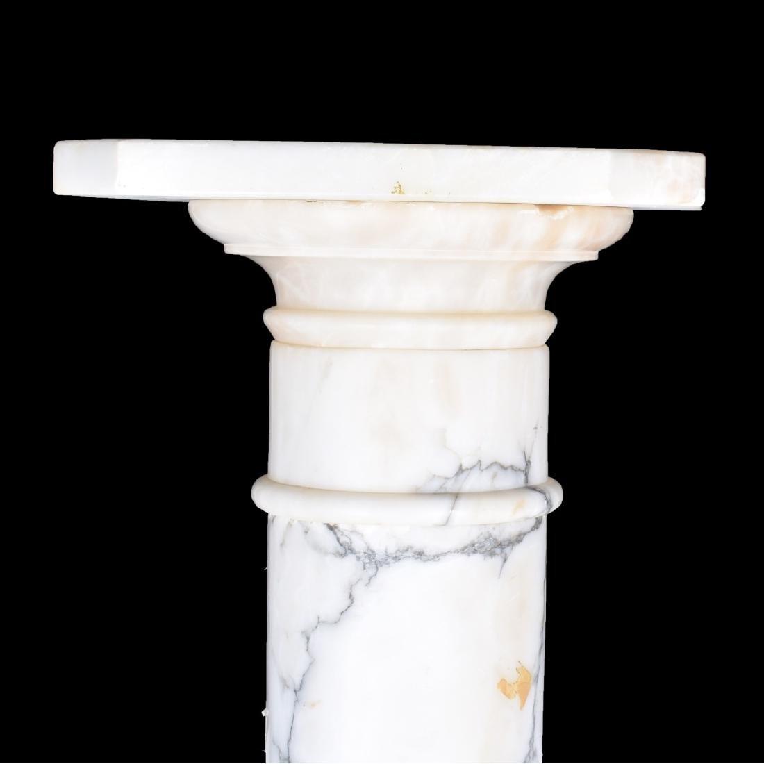 A White Carrara Marble Column Pedestal - 3