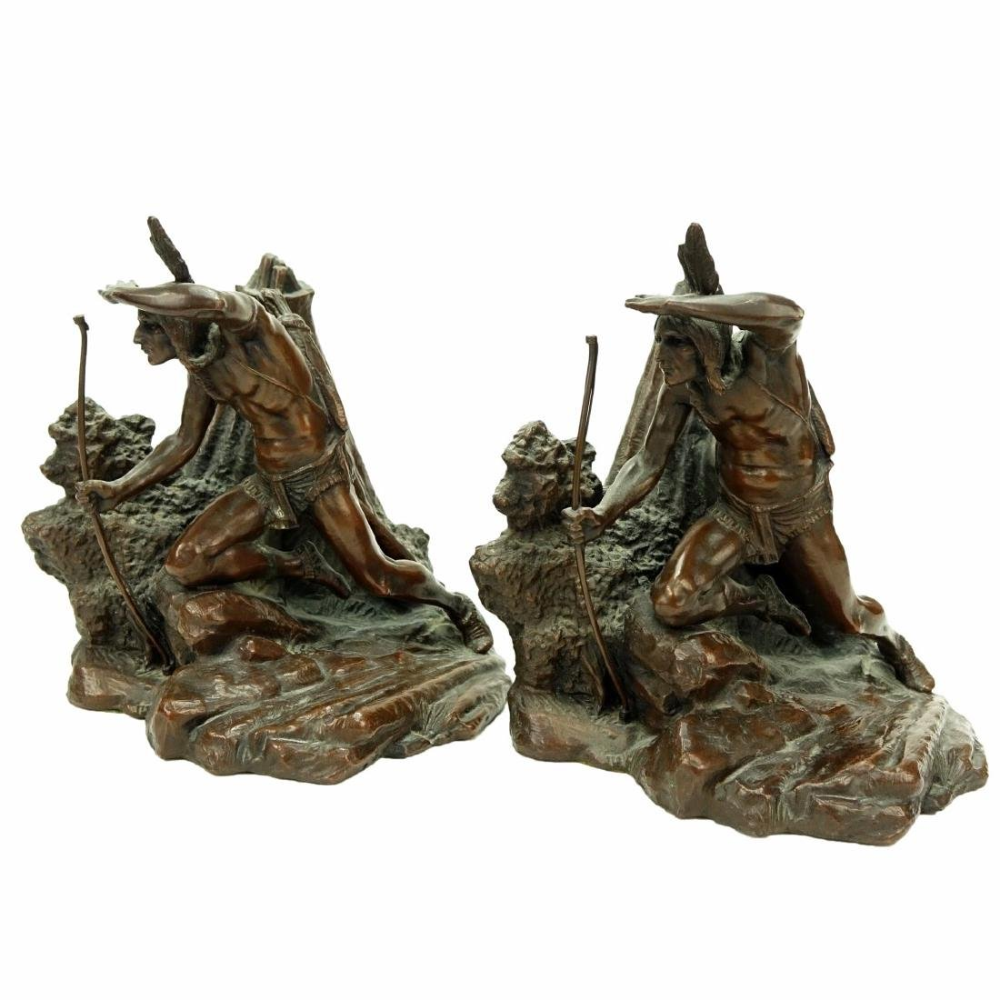 Pair Weidlich Indian Scout Bronze Bookends