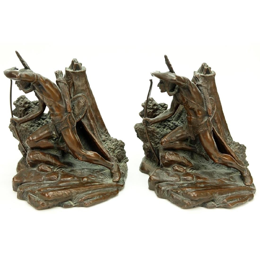 Pair Weidlich Indian Scout Bronze Bookends - 3