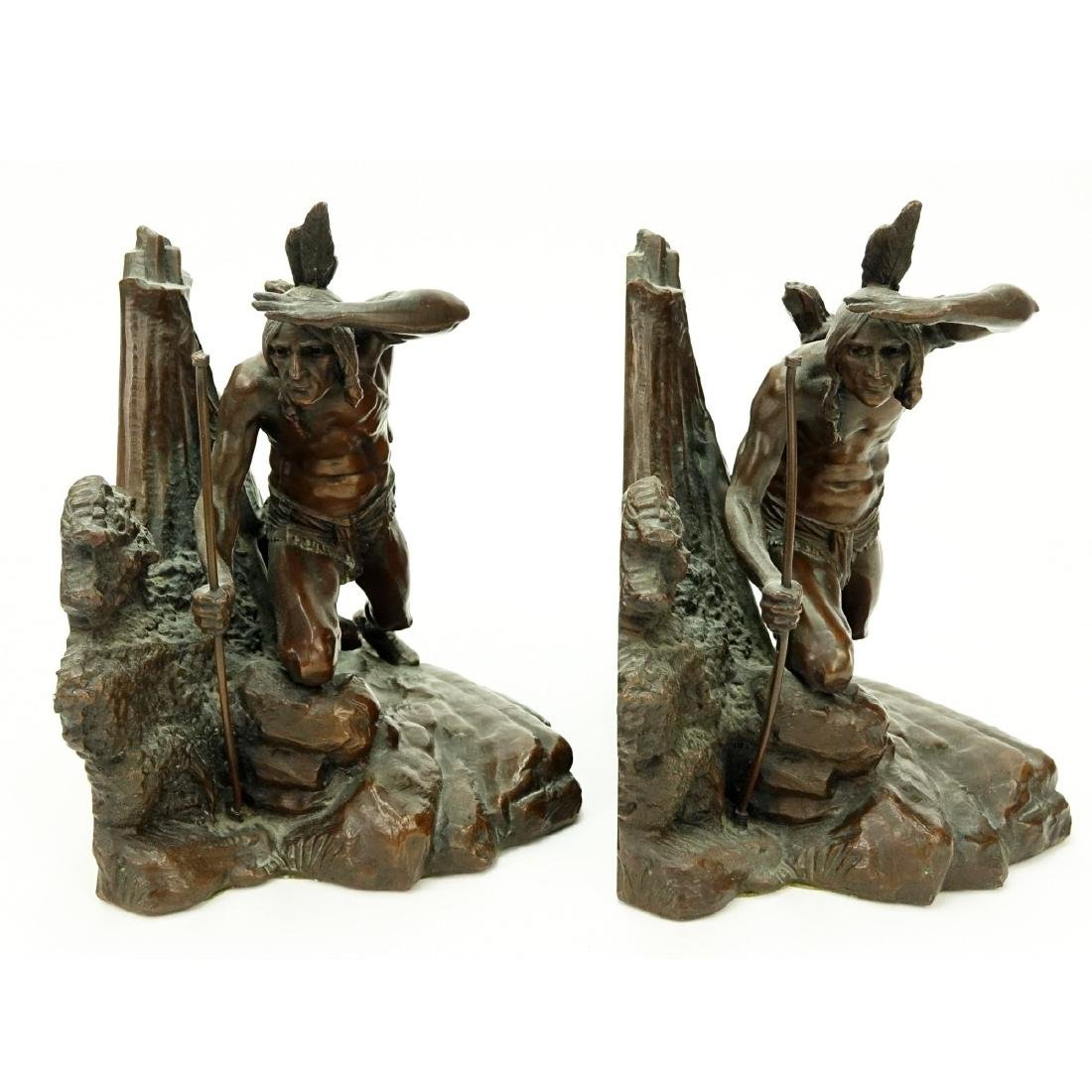 Pair Weidlich Indian Scout Bronze Bookends - 4