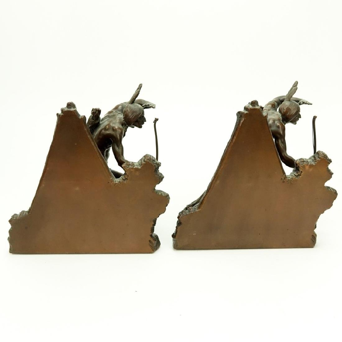 Pair Weidlich Indian Scout Bronze Bookends - 5