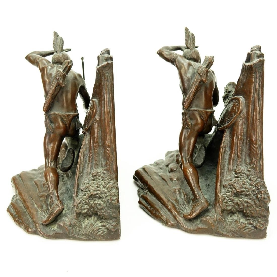 Pair Weidlich Indian Scout Bronze Bookends - 6