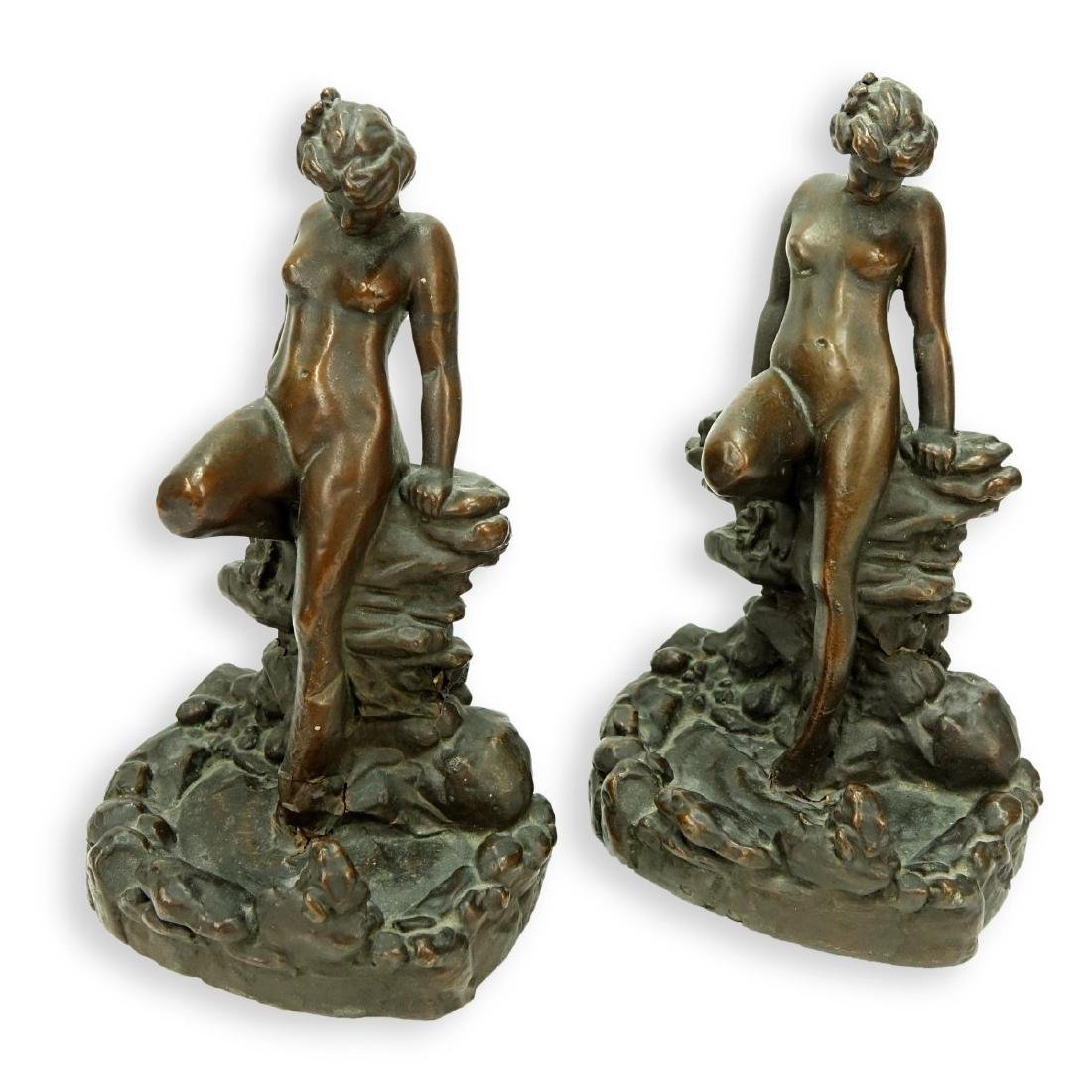 Pair KBW Bronze Clad Bookends Nude At Pond