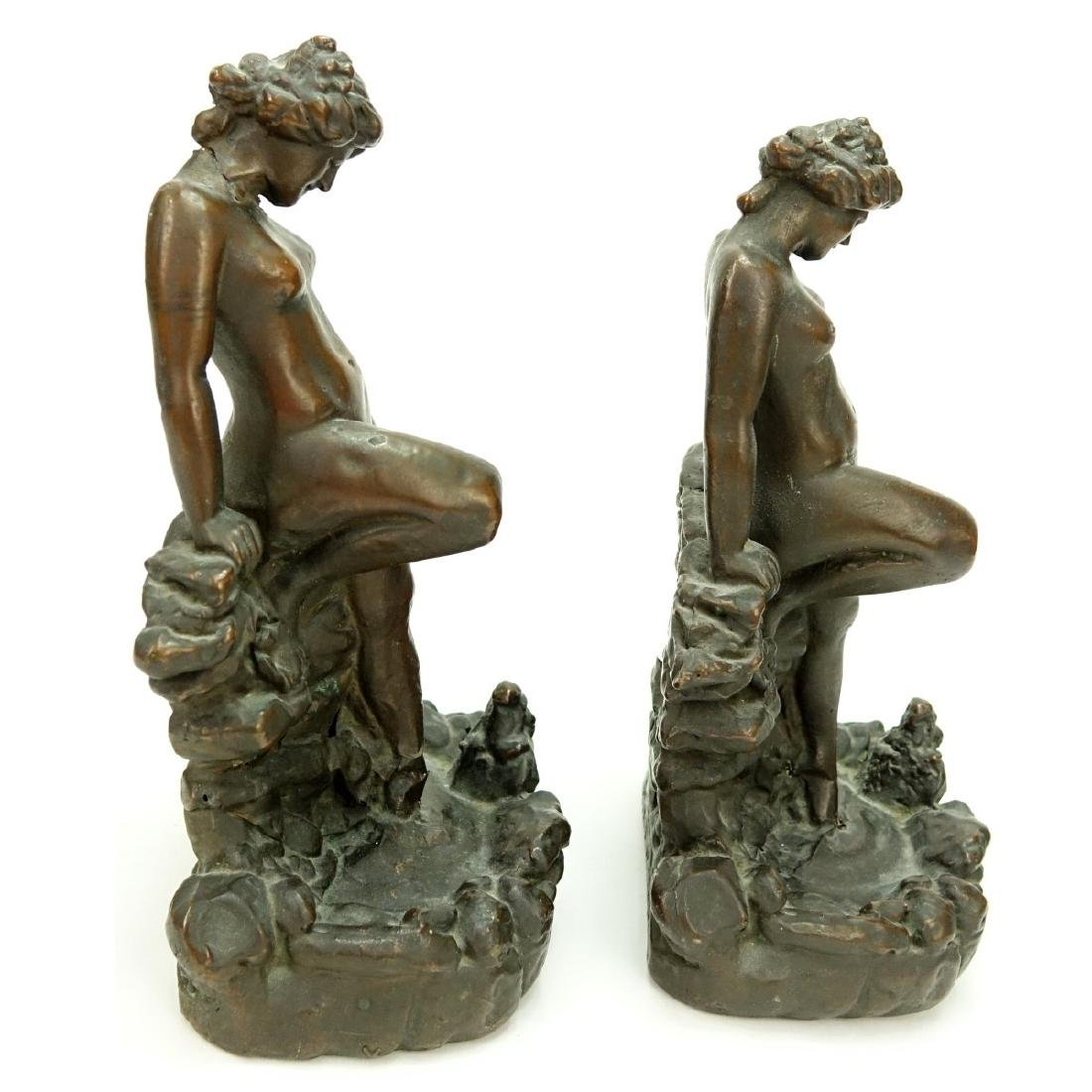 Pair KBW Bronze Clad Bookends Nude At Pond - 3
