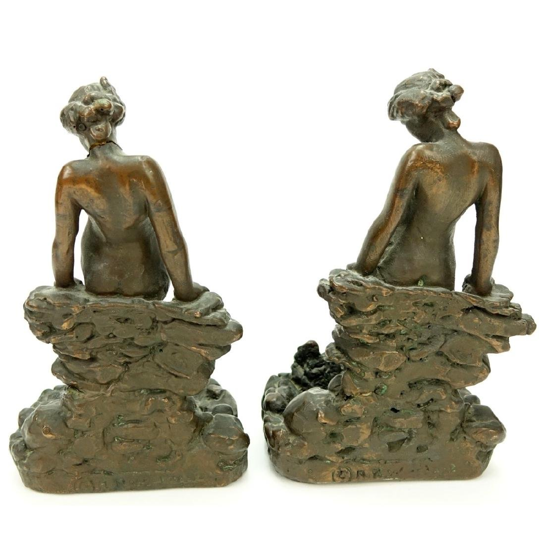 Pair KBW Bronze Clad Bookends Nude At Pond - 4