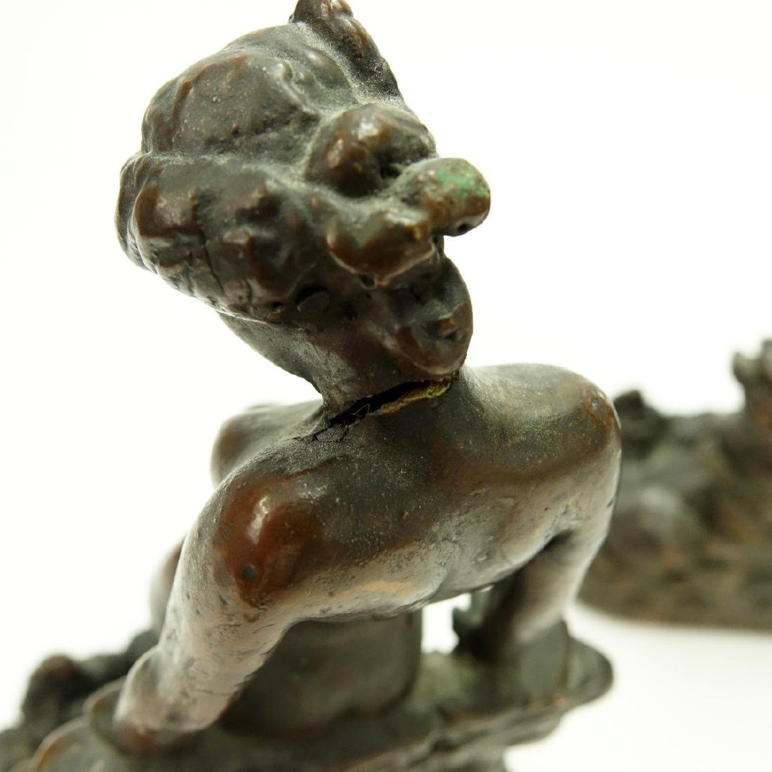 Pair KBW Bronze Clad Bookends Nude At Pond - 5